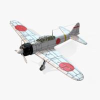 Real-Time Airplane Mitsubishi A6M2 Zero