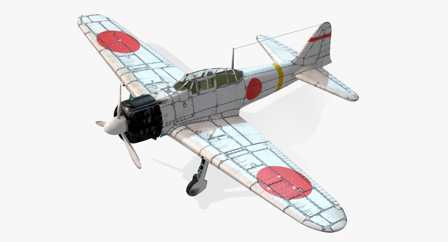 aircraft a6m2 zero real-time 3d max