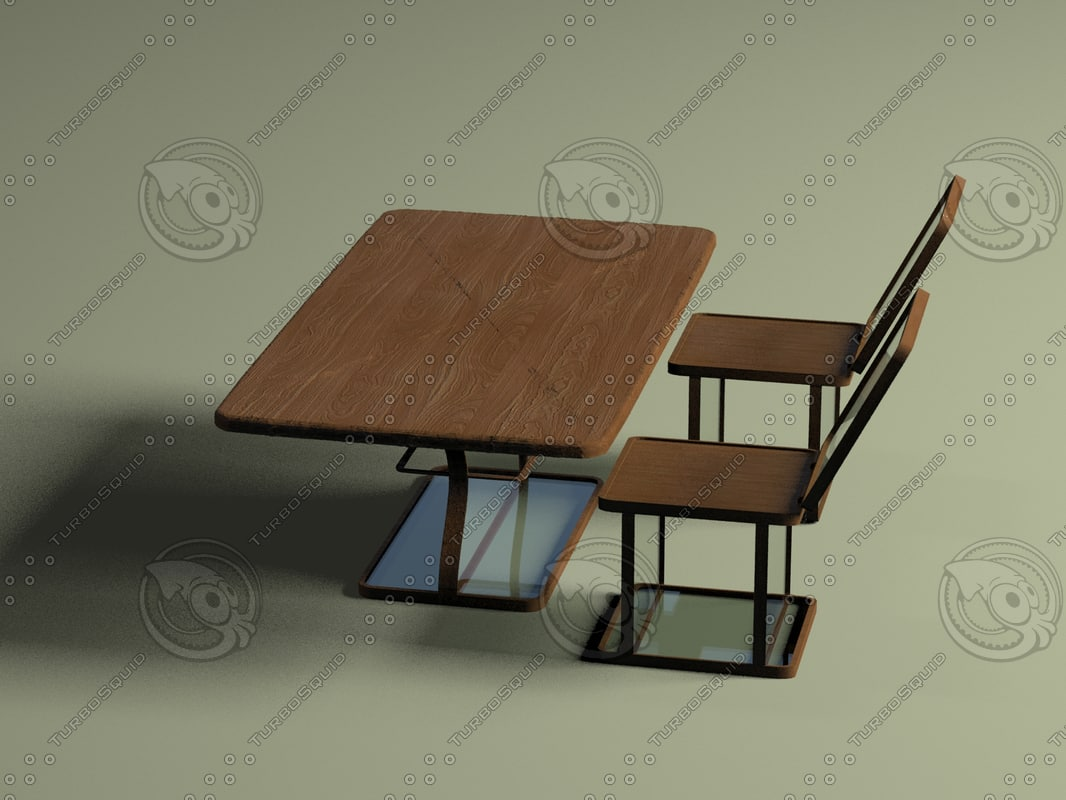 3d table chair glass furniture model
