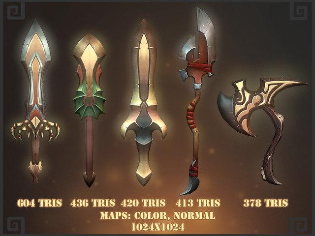 3d fantasy weapons pack model