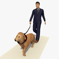 Man and Dog Walking Animation
