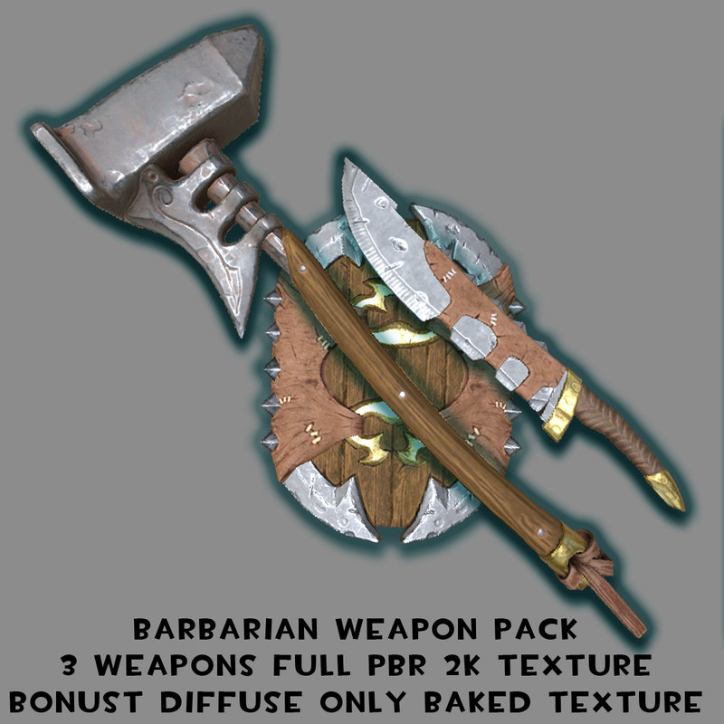 weapons barbarian packed 3d model