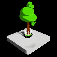 3d isometric toon tree model