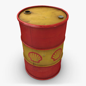 realistic oil barrel shell 3d 3ds