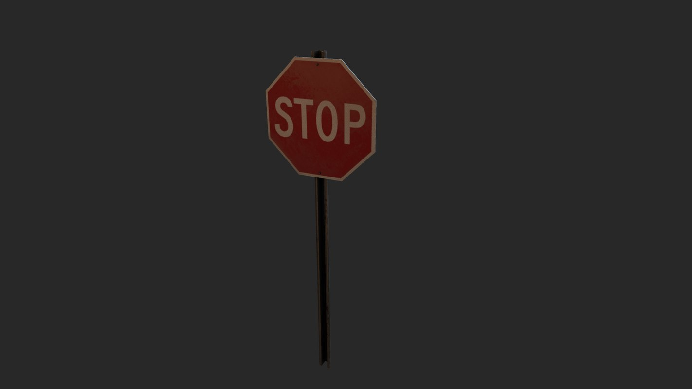 free obj model stop sign