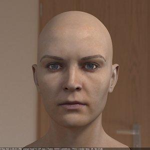 woman head female realistic 3d max