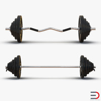 barbell weight fitness 3d max