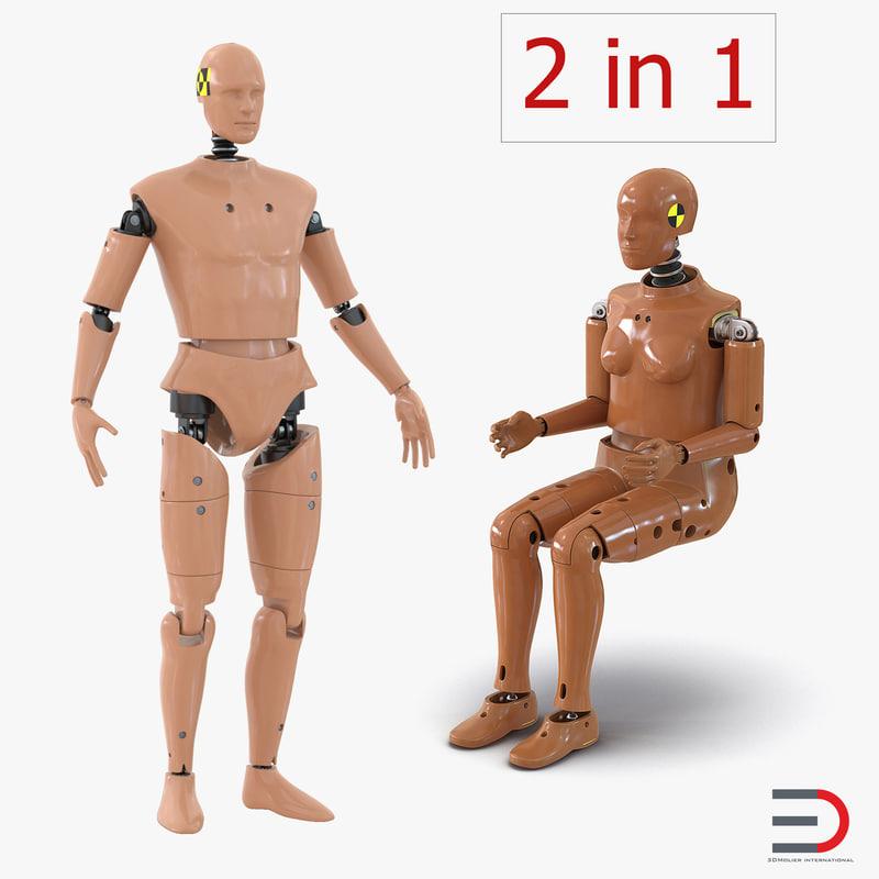 crash test dummies rigged 3d max