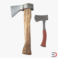 hatchets set old 3d model