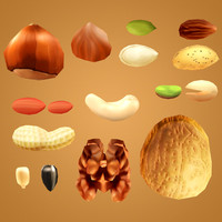 nuts cashew pistachio 3d model