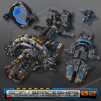 4 spaceships low-res 3d model