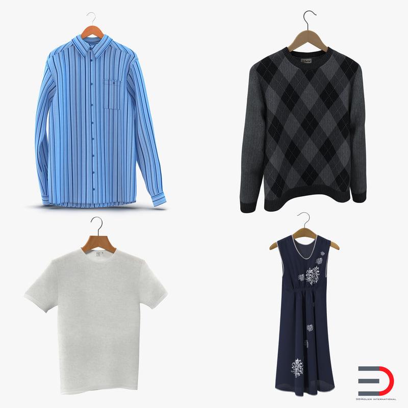 3d model clothes hangers shirt sweater