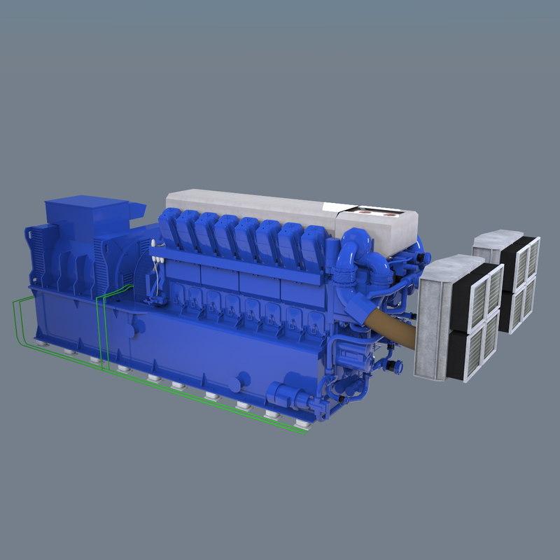 3d model of diesel v16