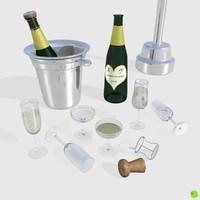 3d model set champagne