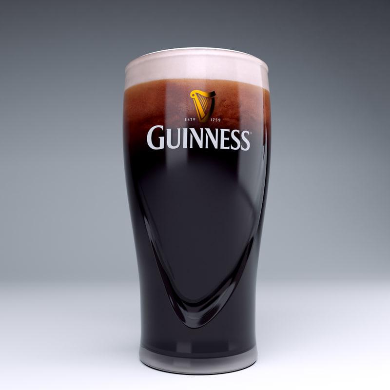 3d model guinness beer glass