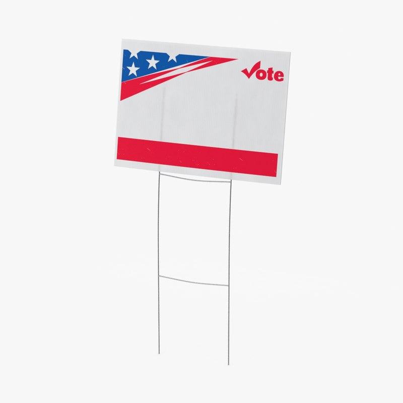 white yard sign 3d model