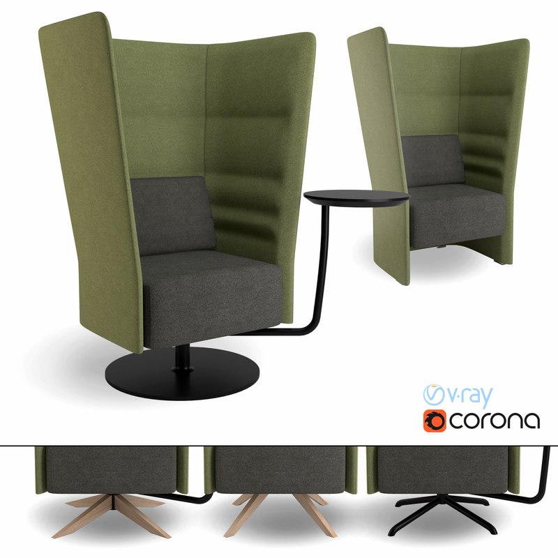 3d high-back armchair model