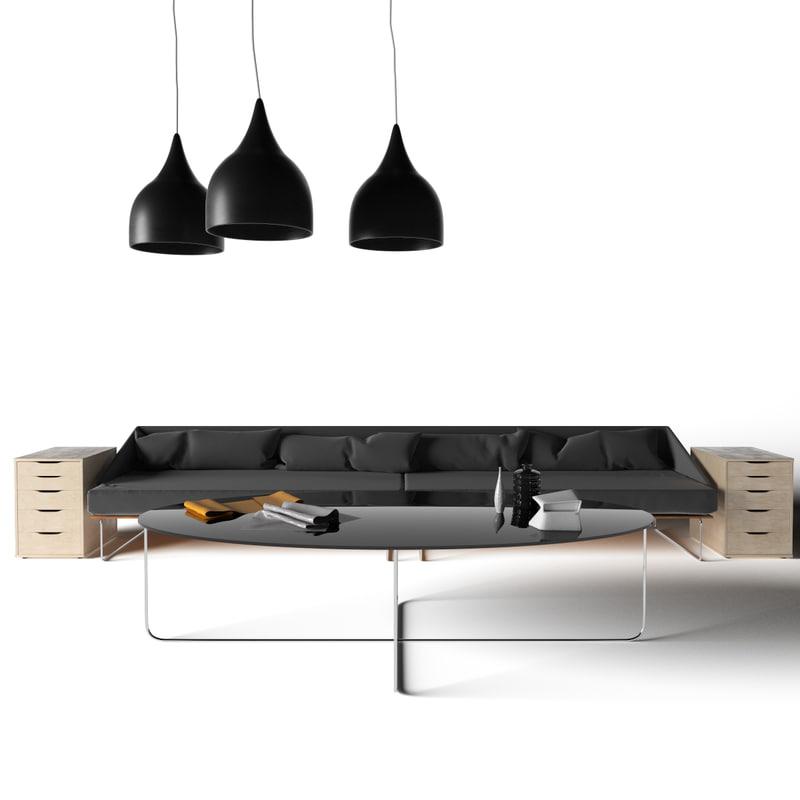 3d model set sofa interior