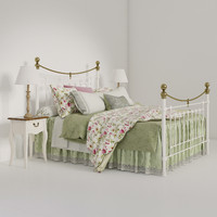 Victoria Stone White end Brass Bed