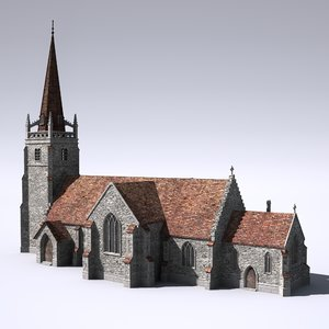 english medieval church 3d lwo