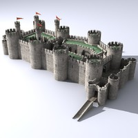 medieval castle conwy 3d model