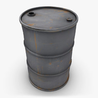 3d model realistic oil barrel blue