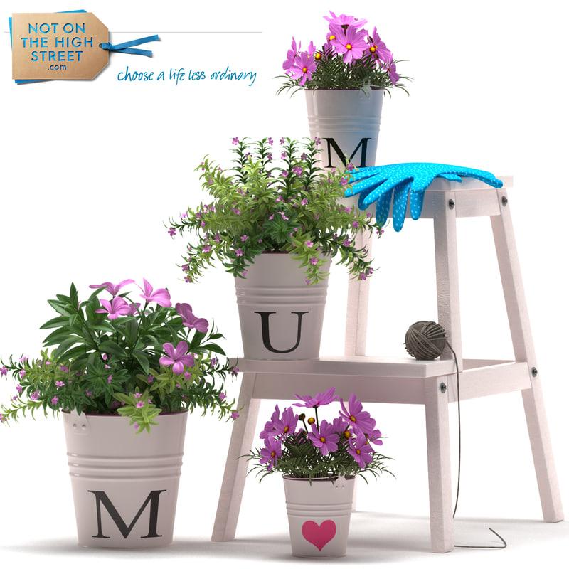 3d max flowers pots