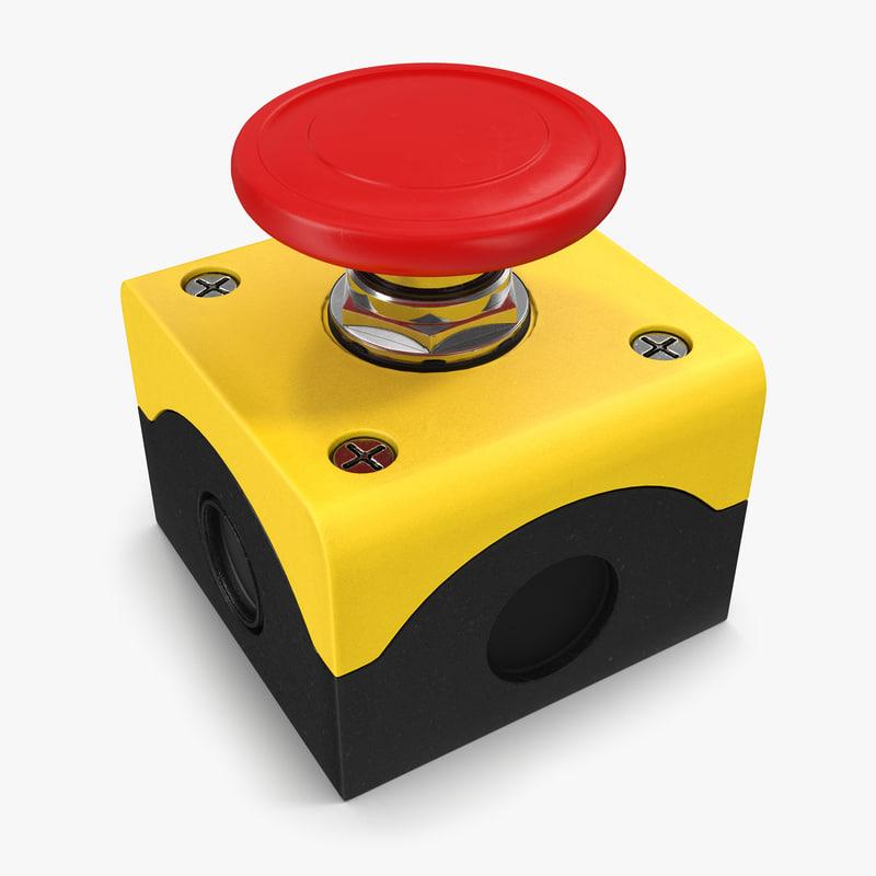 3d emergency button model