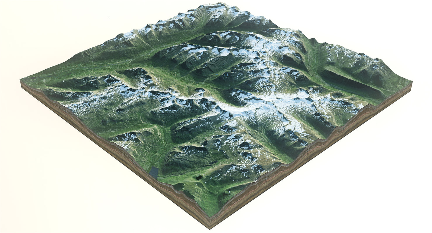 3d iceland mountains model