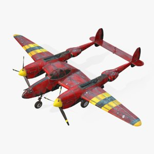 aircraft lockheed p-38 lightning 3d model