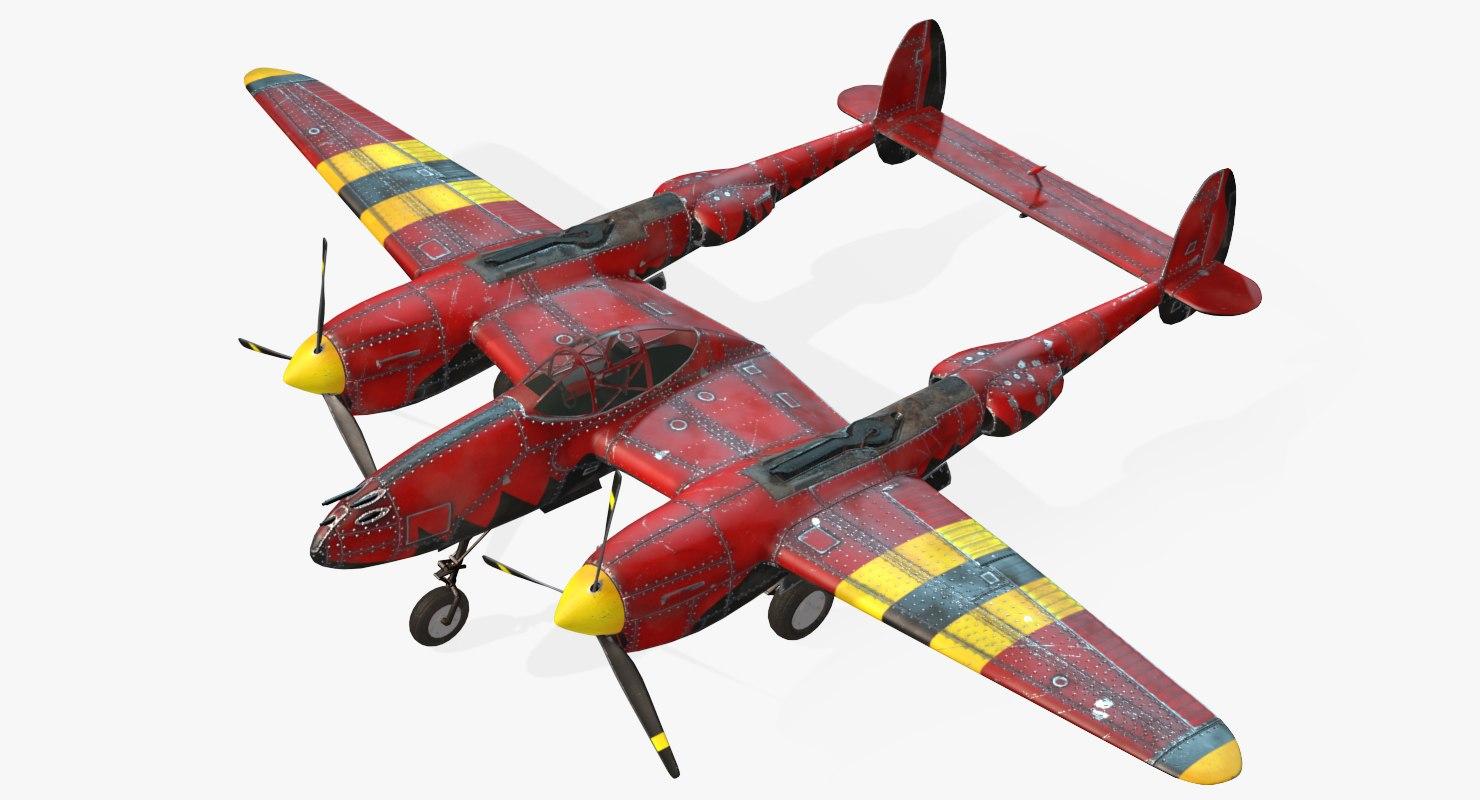 aircraft lockheed p-38 lightning 3d model