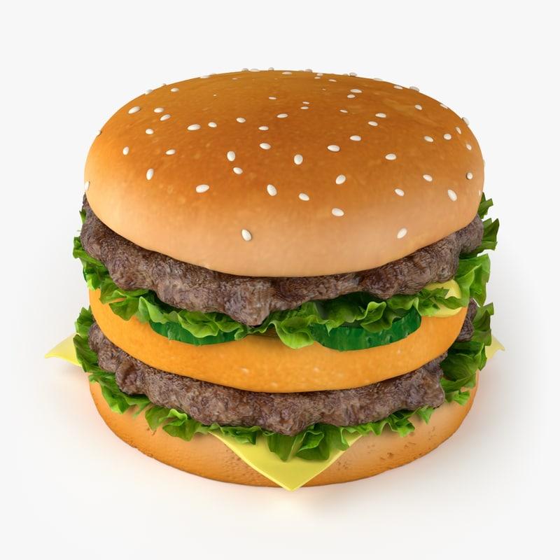 3d model big hamburger