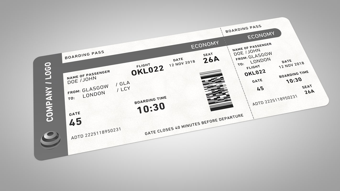 3d model flight ticket