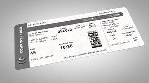 3d model flight ticket