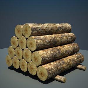 3d timber wood log