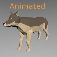 3d rigged wolf model
