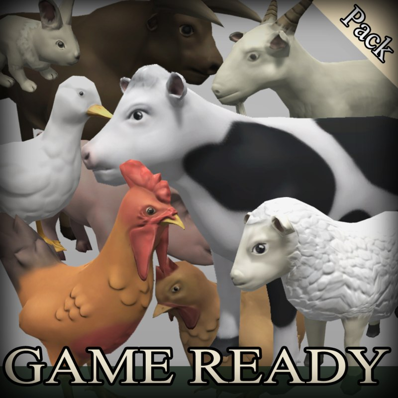 farm animals 3d model