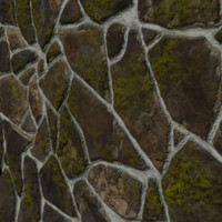 3d model mossy stone wall ground tiles