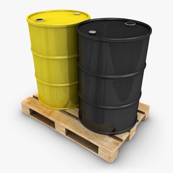 3d realistic oil barrel pallet model
