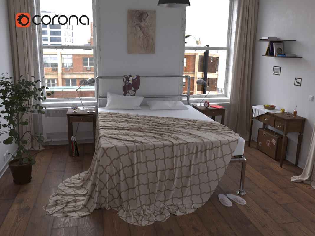 bed bedroom room 3d model