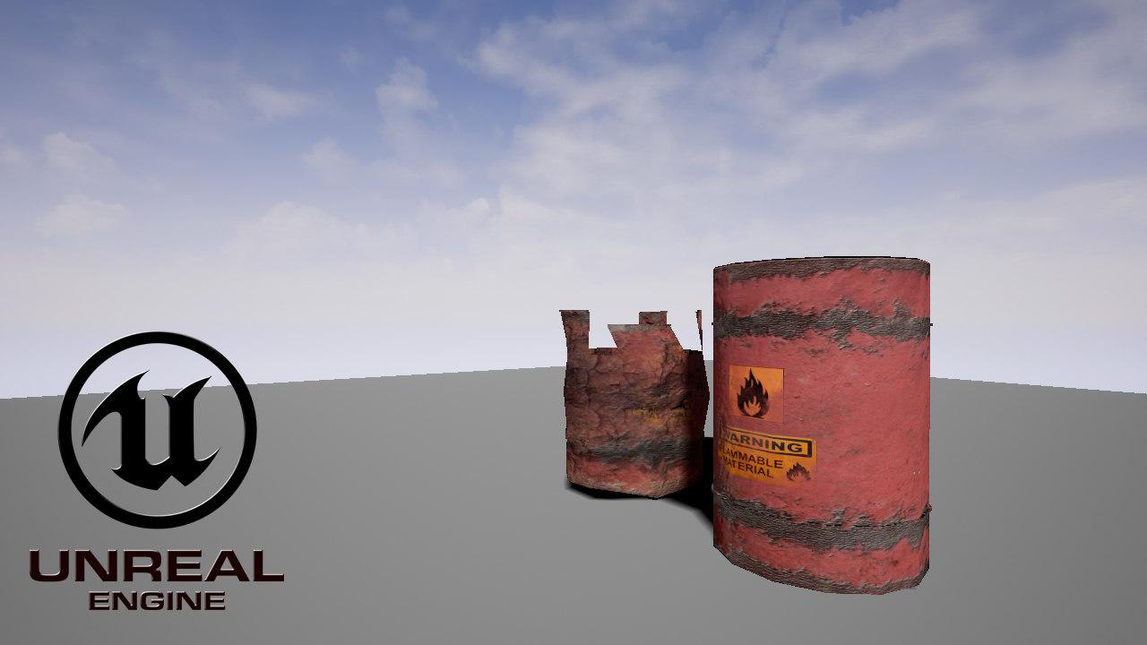 free explosive barrel 3d model