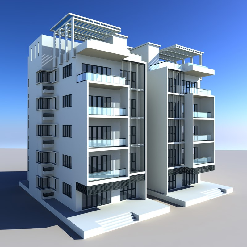 Building apartment house 3d model 3d house building