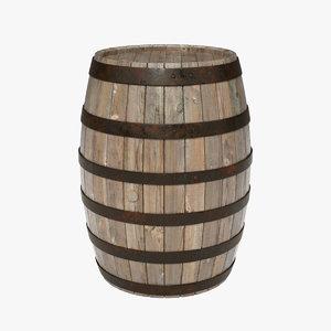 ma wooden barrel realistic metal