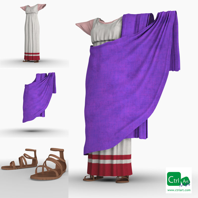 3d obj dress scarf sandals