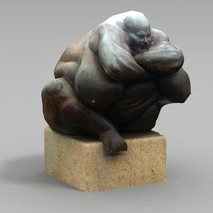 3d grotesque statues model