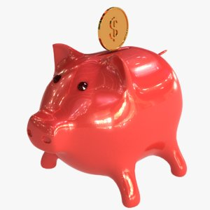3d pig coin bank