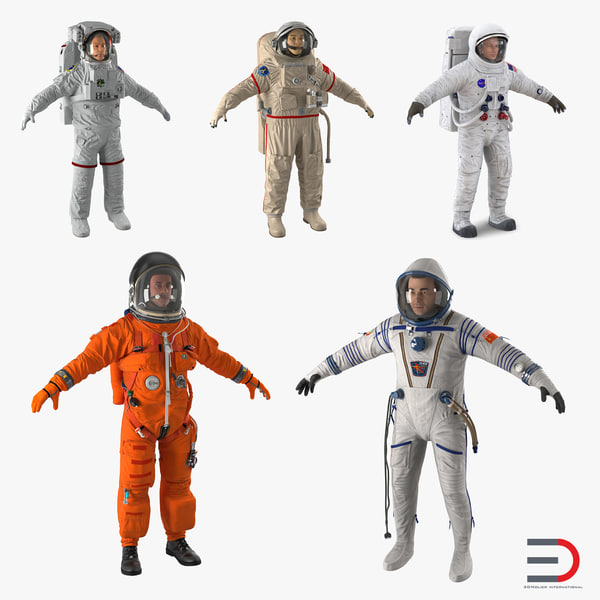 3d model of astronauts 4 modeled nasa