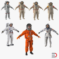 astronauts 3 modeled 3d 3ds