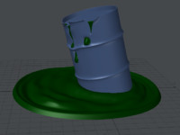 damaged oil drum barrel 3d model