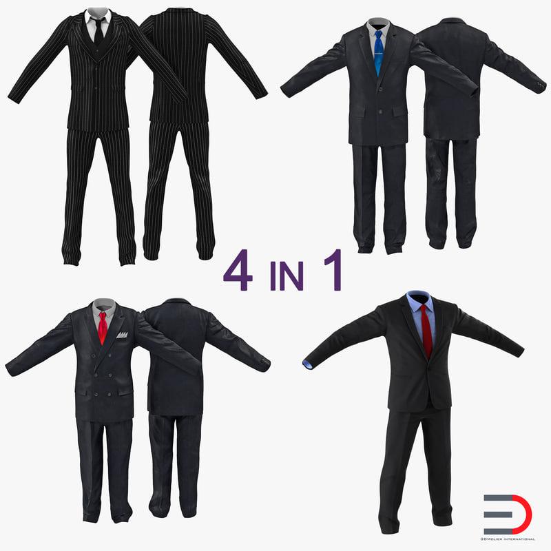 suits set business 3d model